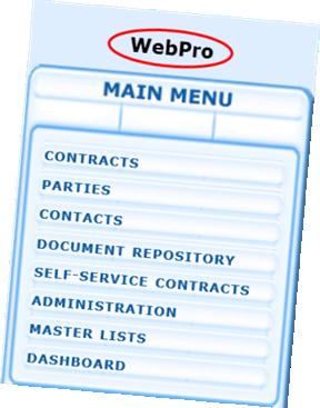WebPro Main Menu
